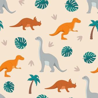 Modèle sans couture avec des dinosaures et des feuilles tropicales