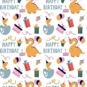 Modèle sans couture avec des dinosaures mignons. les dinosaures fêtent leur anniversaire avec des cadeaux et des bonbons. vecteur.