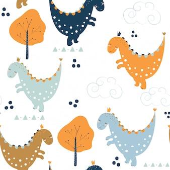 Modèle sans couture avec des dinosaures mignons