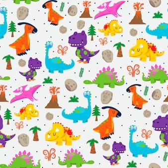 Modèle sans couture de dinosaures mignons