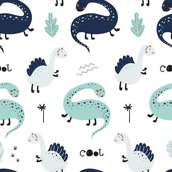 Modèle sans couture avec des dinosaures mignons.