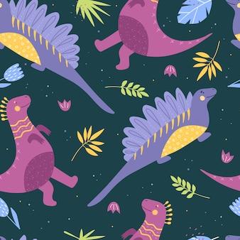 Modèle sans couture avec des dinosaures.