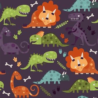Modèle sans couture de dinosaures