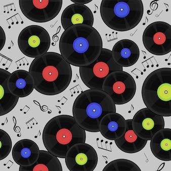 Modèle sans couture avec disques vinyle et notes.