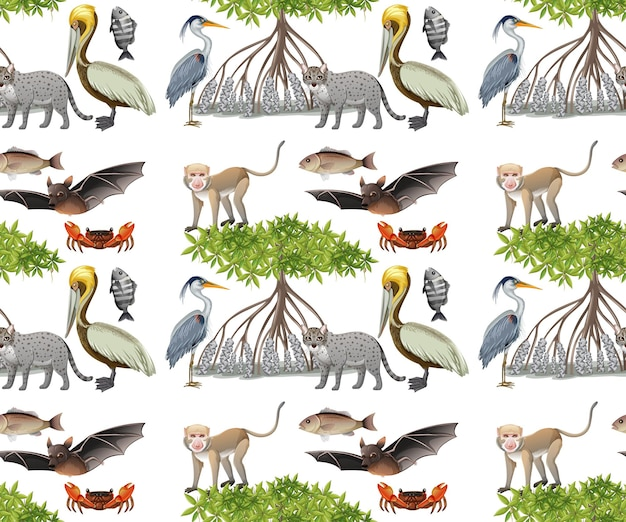 Modèle sans couture avec divers animaux de la mangrove sur fond blanc