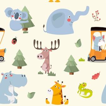 Modèle sans couture avec divers animaux de zoo de dessin animé mignon et drôle.
