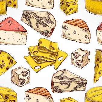 Modèle sans couture avec divers fromages