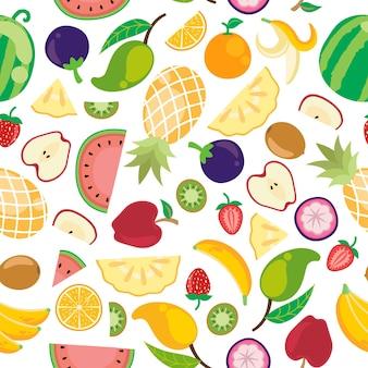 Modèle sans couture de divers fruits d'été tropicaux