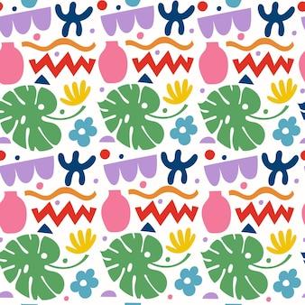 Modèle sans couture avec divers gribouillis, formes colorées et objets authentiques. fond d'illustration vectorielle moderne abstrait. toile de fond d'art contemporain pour l'impression, le textile.