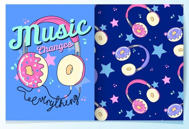 Modèle sans couture donut mignon dessiné à la main