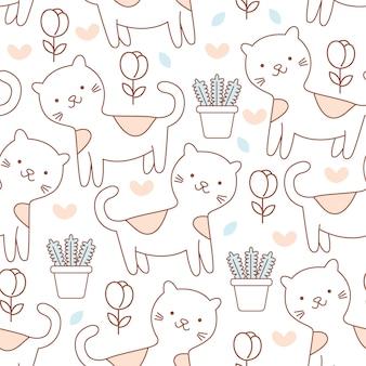 Modèle sans couture doodle chat mignon