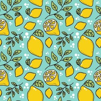 Modèle sans couture de doodle de citron