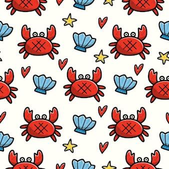 Modèle sans couture de doodle de crabe caricature dessinée à la main