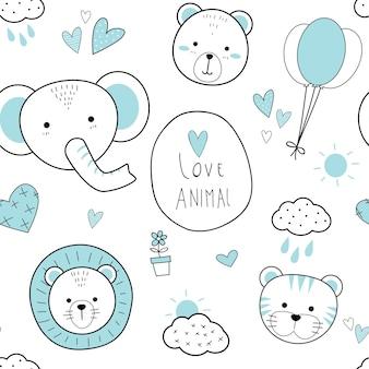 Modèle sans couture doodle de dessin animé animaux mignon ligne
