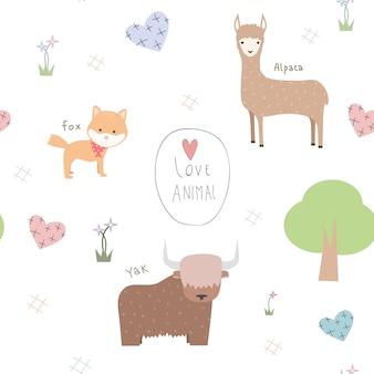 Modèle sans couture doodle de dessin animé animaux mignons