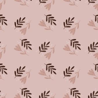 Modèle sans couture de doodle dessiné main avec des branches de dessin animé et des éléments de fleurs.