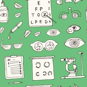 Modèle sans couture de doodle dessiné main optométrie