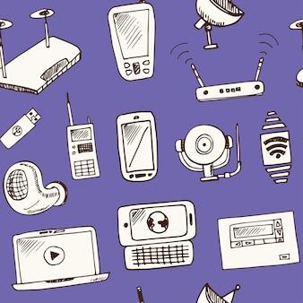 Modèle sans couture de doodle dessiné main technologie sans fil