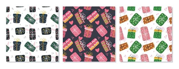 Modèle sans couture doodle d'élément de boîte de noël, boîte d'anniversaire. peut utiliser pour le tissu, etc.