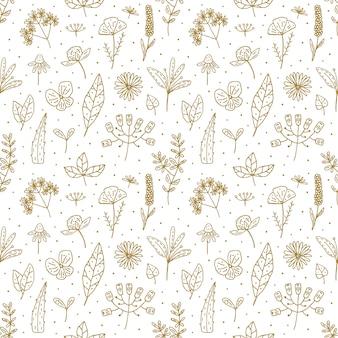 Modèle sans couture de doodle floral dessiné à la main