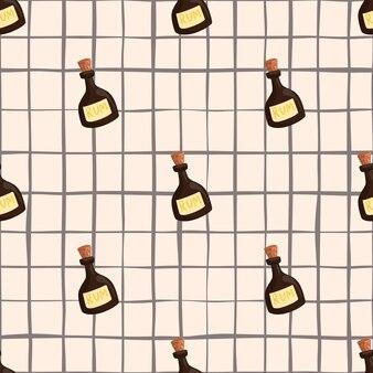 Modèle sans couture de doodle avec des formes brunes décoratives de bouteille de rhum