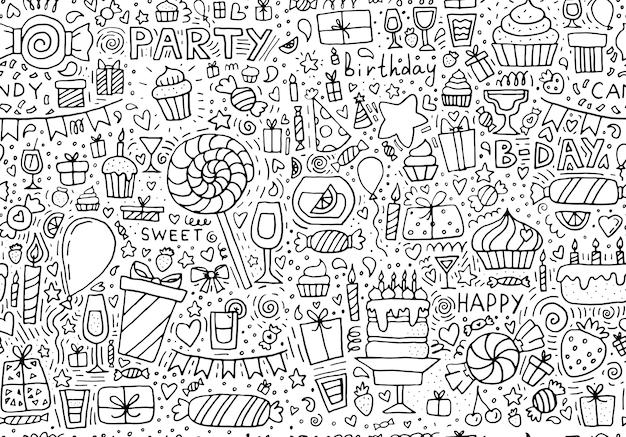 Modèle sans couture de doodle joyeux anniversaire fond dessiné à la main