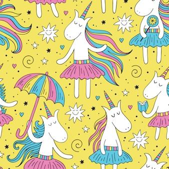 Modèle sans couture doodle licorne