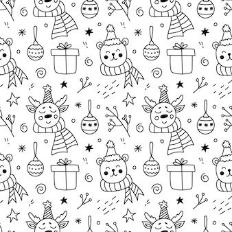 Modèle sans couture de doodle de noël avec des cadeaux festifs de cerfs ours mignons