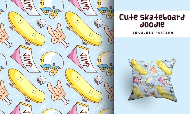 Modèle Sans Couture De Doodle Skateboard Mignon Vecteur Premium
