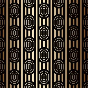 Modèle sans couture doré de luxe avec ovales et rayures, couleurs noir et or, style art déco