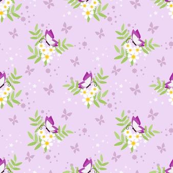Modèle sans couture douce fleur et papillon.