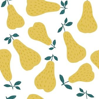 Modèle sans couture douce poire jaune