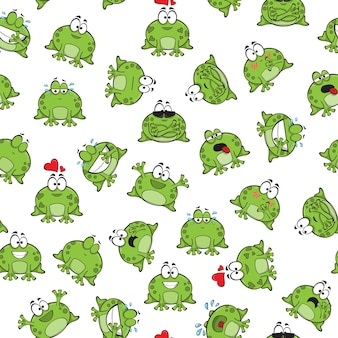 Modèle sans couture doux avec des grenouilles drôles - vector