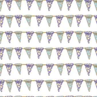 Modèle sans couture de drapeaux suspendus floraux bleus et bruns, dessinés à la main