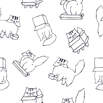 Modèle sans couture drôle avec chat persan jouant avec boîte en carton sur blanc