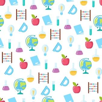 Modèle sans couture drôle avec des fournitures scolaires et des éléments créatifs. retour au fond de l'école.
