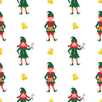 Modèle sans couture drôle de noël elfes