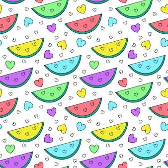 Modèle sans couture drôle avec des tranches de pastèque et des coeurs mignons illustration vectorielle plane