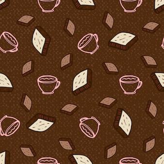 Modèle sans couture avec du café et du chocolat. illustration vectorielle dessinés à la main, papier, textile, tissu, emballage, papier peint, vecteur