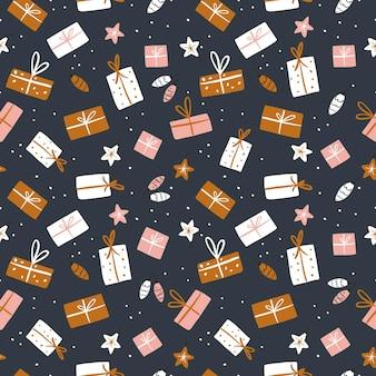Modèle sans couture du nouvel an. cadeaux de vacances sur fond neutre. illustration vectorielle