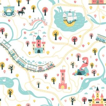 Modèle sans couture du royaume de conte de fées avec un navire en mer, des rivières, des trains et des chemins de fer, des châteaux, des tours, la grotte du dragon, une voiture de princesse.