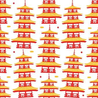 Modèle sans couture du temple sensoji dans un style design plat