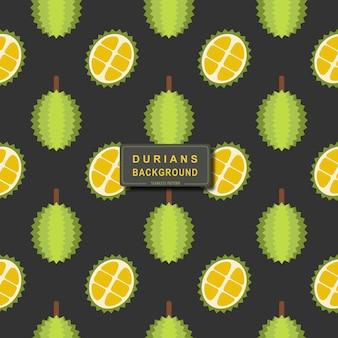 Modèle sans couture de durian frais isolé sur fond noir