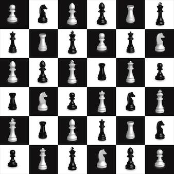 Modèle sans couture d'échecs élément de décoration géométrique 3d noir et blanc d'échecs