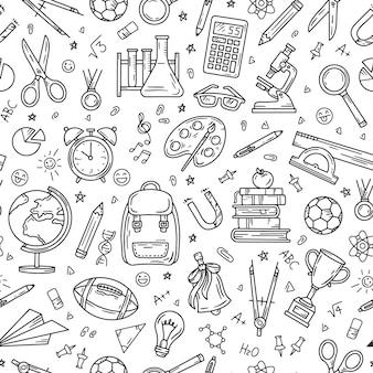 Modèle sans couture d'école et d'éducation sur des fournitures de vecteur de papeterie de fond blanc