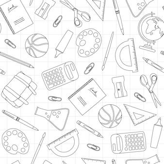 Modèle sans couture d'école noir et blanc