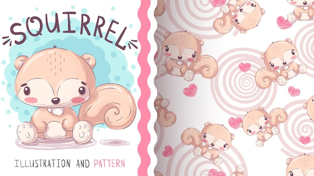 Modèle sans couture d'écureuil terrestre animal personnage dessin animé enfantin