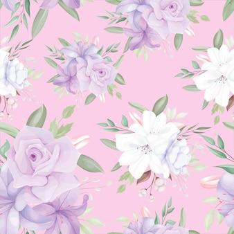 Modèle Sans Couture élégant Avec De Belles Fleurs Et Feuilles Blanches Et Violettes Vecteur gratuit