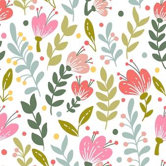Modèle sans couture élégant avec des fleurs roses