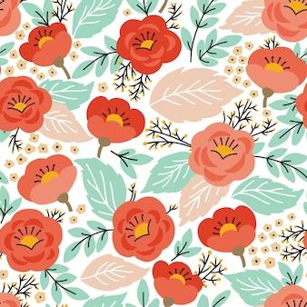 Modèle sans couture élégant avec des fleurs
